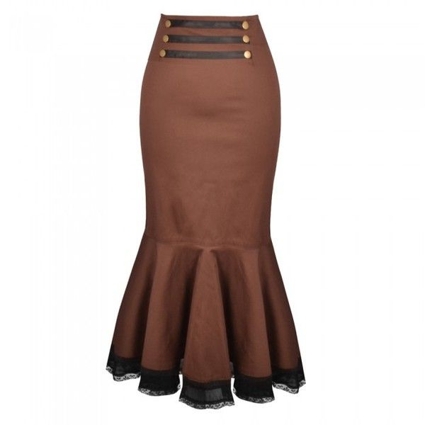 Long Brown Steampunk Skirt with Lace Trim ❤ liked on Polyvore featuring skirts, lacy skirt, steam punk skirt, long lace skirt, zipper skirt and brown skirt