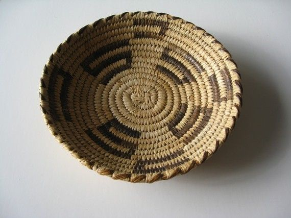 Basket Weaving Expression : Native american vintage indian basket old weaving hand