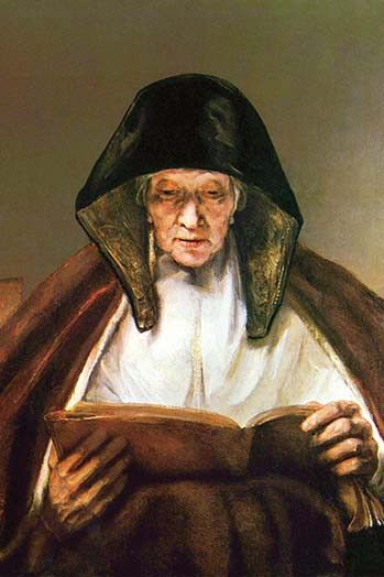 Old woman, reading. Rembrandt Harmenszoon van Rijn (15 July 1606 – 4 October 1669)