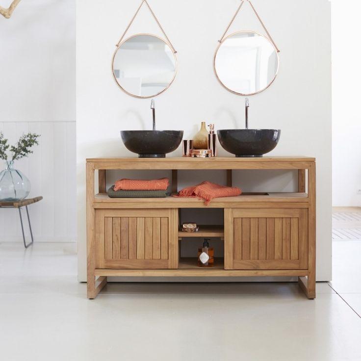 meuble double vasque en bois naturel, miroirs ronds et vasques noires