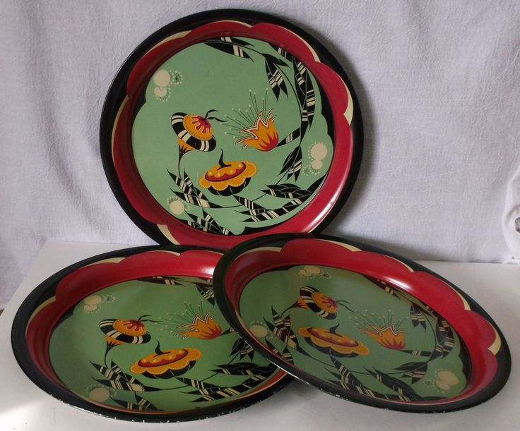 Vintage Mid-Century Modern Serving Trays Stylized Flowers @iloveoldstuff #collectibles #vintage