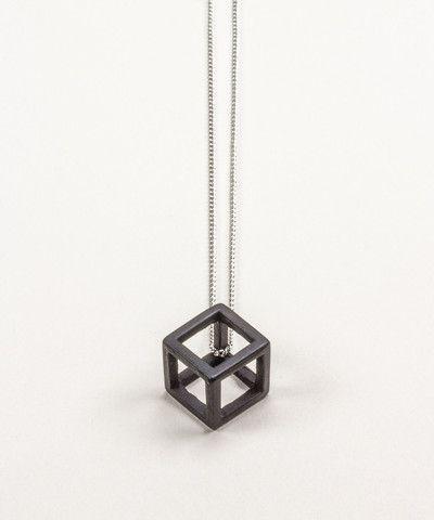 Black Hollow Cube Pendant Necklace. $ 35.00
