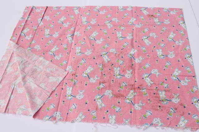 vintage baby animals print cotton feed sack fabric, bunnies w/ toy wagons, parasol umbrellas