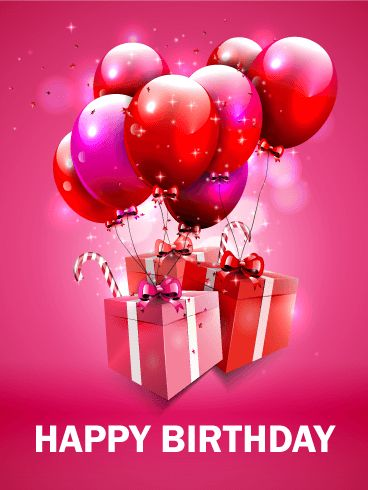 Fantastic Pink Birthday Balloon Card. Dazzle and delight with this awesomely pink birthday card! Bring on the presents and bring on the smiles. This birthday greeting is absolutely fantastic! If you know a lady who really shimmers and shines, let her know with this special birthday card and send it to her today! Be outlandish in your love, go all in for celebration - birthdays only come but once a year!