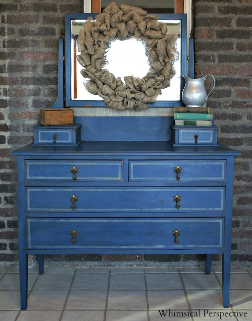 A dresser finished in Napoleonic Blue Chalk Paint® decorative paint by Annie Sloan | By Whimsical Perspective