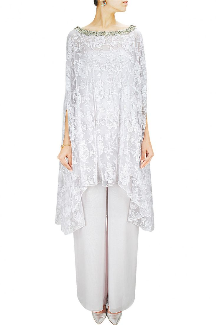 Pale grey net embroidered kaftan cape with double layered pants. BY PERNIA…