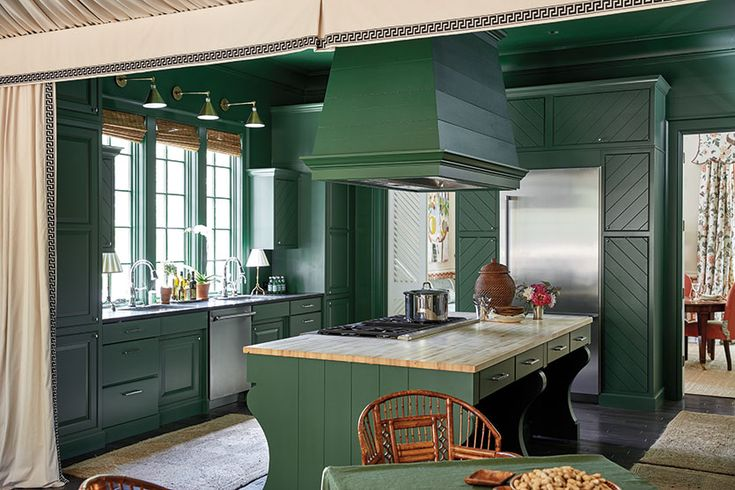 Bill Ingram's green kitchen in the 2016 Southern Living Idea House in Mt. Laurel, Alabama
