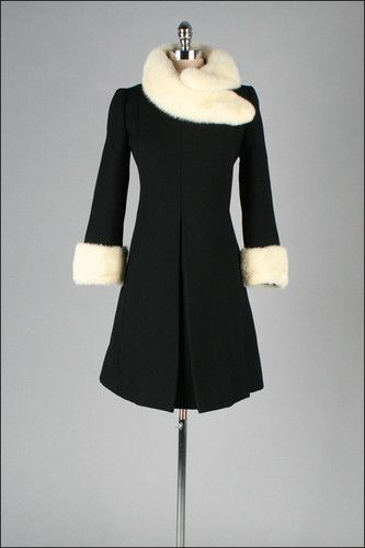 1960 tailored wool coat with mink fur trim