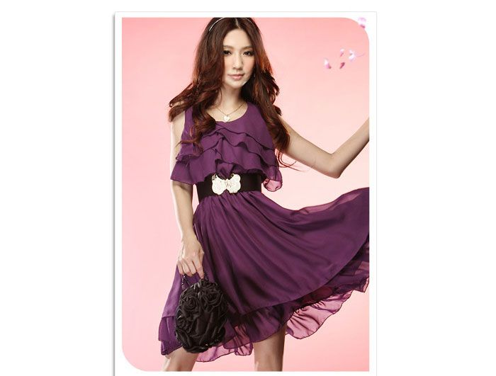 Women Flowing Tiered Ruffle Trim Scoop Neck Tank Dress - Item 700955 at Eastclothes.com