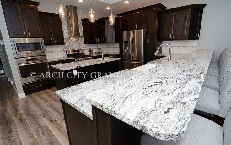 Lighter version Silver Cloud granite installed with dark Espresso cabinets