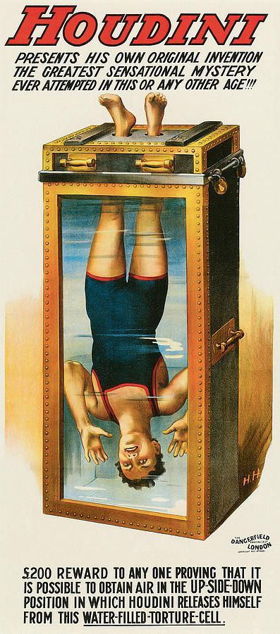 One of Houdini's posters featuring the Chinese water-torture trick, circa 1912. Courtesy Zack Coutroulis. #HarryHoudini