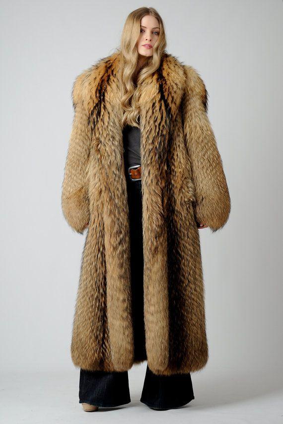 Vintage Tanuki Fur Feather Maxi Coat 70s Shaggy Fox Coyote