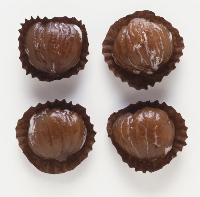 This candied chestnuts recipe features chestnuts, sugar, and vanilla extract. Marrons glacés recipe.