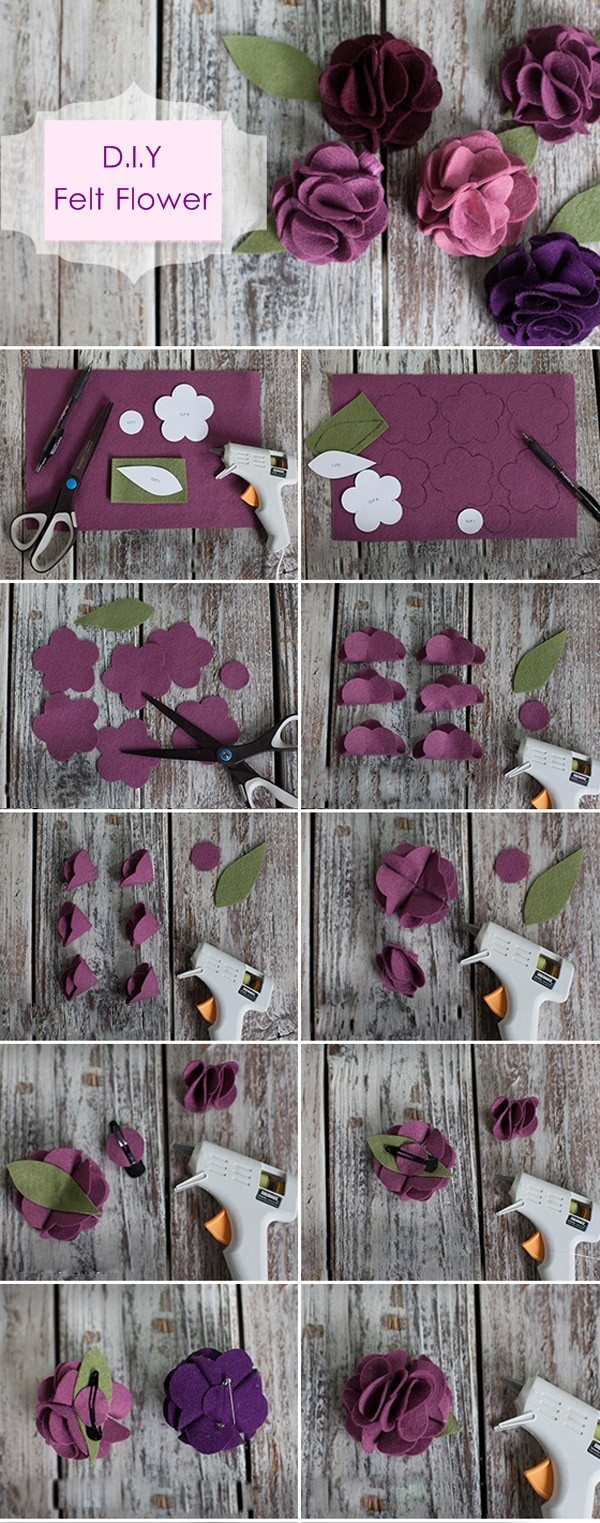 DIY felt lowers hair clips