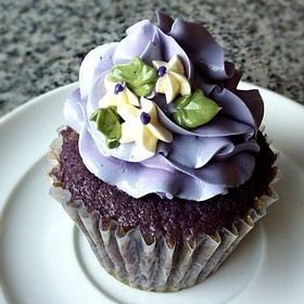 Taro Cupcakes with Taro Cream Cheese Frosting.