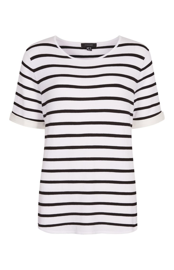 White Striped Woven Back-Knitted Top