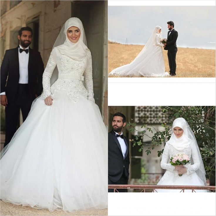 Empire Line Wedding Dresses Uk Arabic Long Sleeves A Line Wedding Dresses 2016 Vintage New Tulle With Lace Beaded High Neck Court Train Zipper Muslim Bridal Dress Gowns Wedding Dresses From China From Weddingdressesonline, $194.5| Dhgate.Com