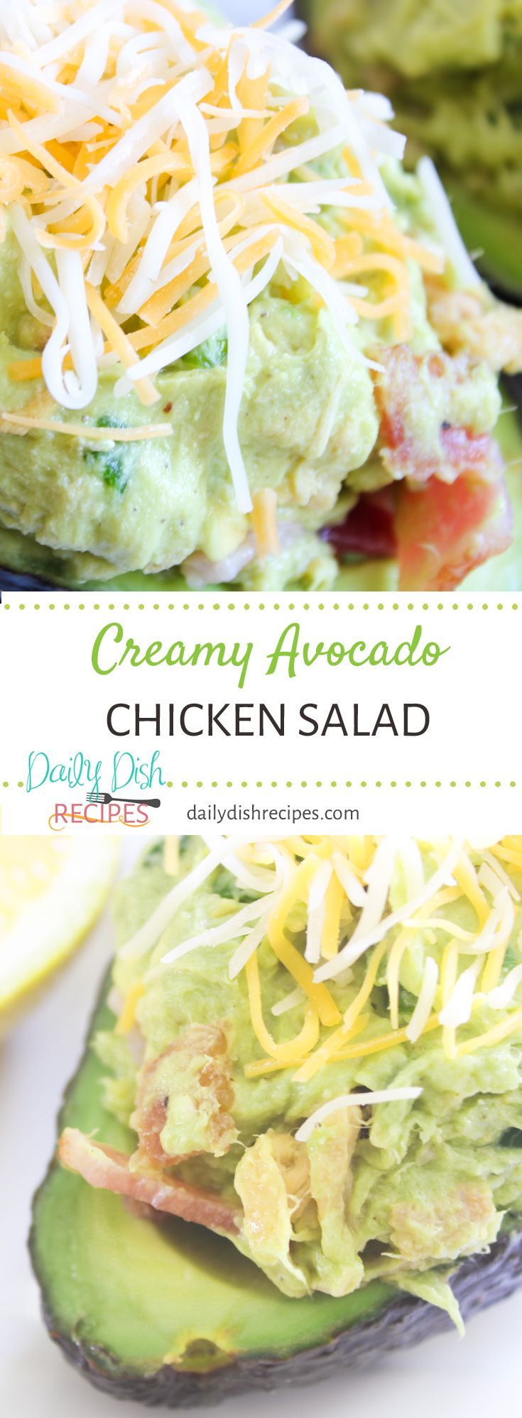 There is absolutely nothing better than this Creamy Avocado Chicken Salad. It's so delish and you can serve it right in the avocado skin. via @dailydishrecipes