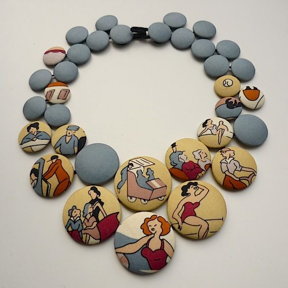BEACH - Pastilles FOULARD necklaces : silk covered buttons ( tie or old silk touristic scarf) - Cécile Bertrand