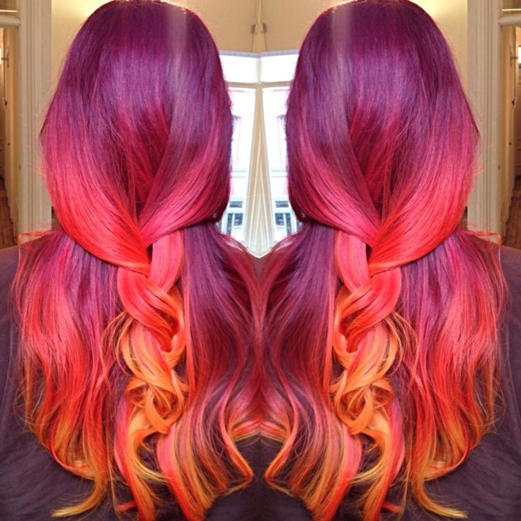 Phoenix hair! wine plum to red plum to peach to yellow orange! sunset mermaid hair! Fire ombré