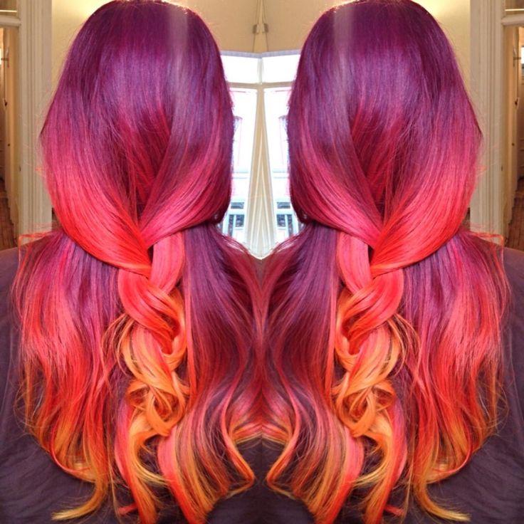 Phoenix hair!  wine plum to red plum to  peach to yellow orange!  sunset mermaid hair! Fire ombré