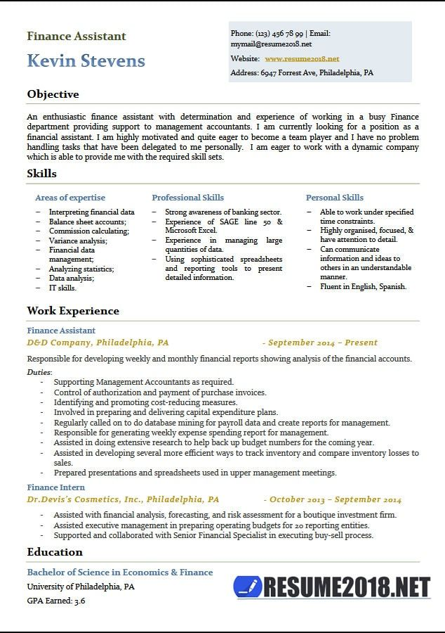 2018 Finance 4-Resume Examples Resume examples, Professional