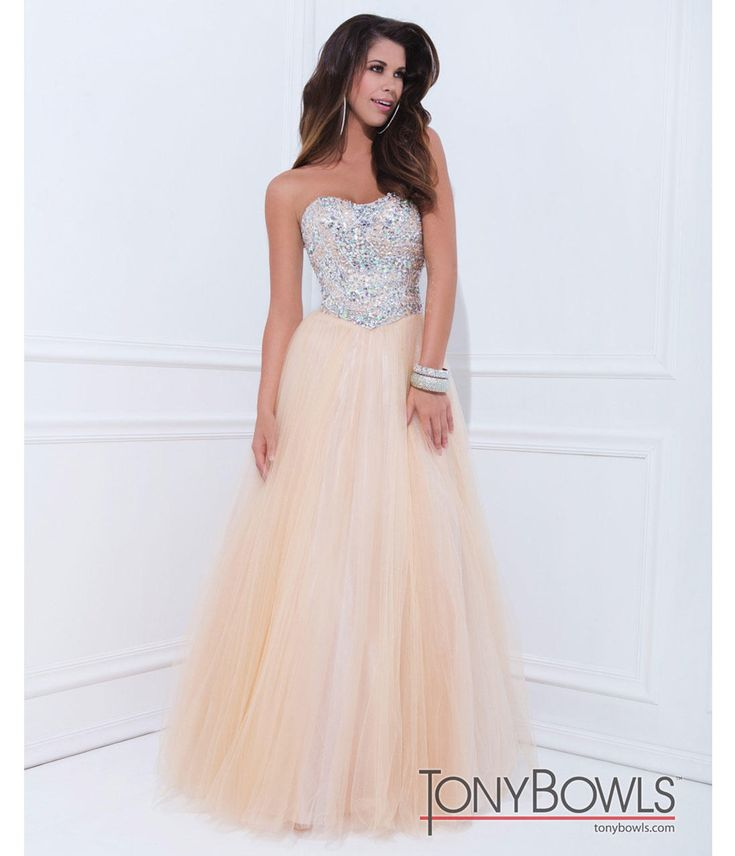 (PRE-ORDER) Tony Bowls 2014 Prom Dresses - Champagne Embellished Strapless Sweetheart Mesh Gown from Unique Vintage. Saved to prom dresses:). #prom #princess.