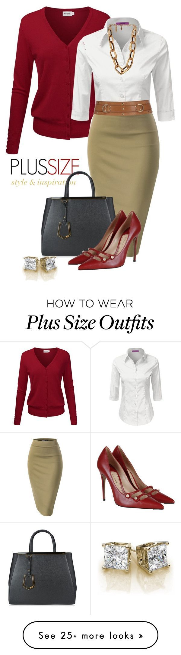 Great Plus pencil skirt outfit. Keep skirt knee length for Apple shapes. Keep shoes low cut with no fussy details to add length to the leg.