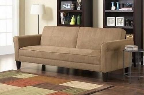 MICROFIBER SOFA BED BEIGE FUTON CONVERTIBLE COUCH SLEEPER SOFA  FURNITURE NEW! #10SpringStreet