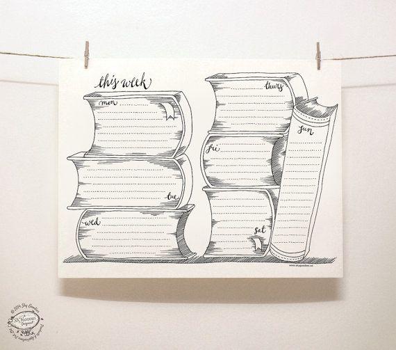 DOODLE perpétuel hebdomadaire / Organisateur: livres par SkyGoodies