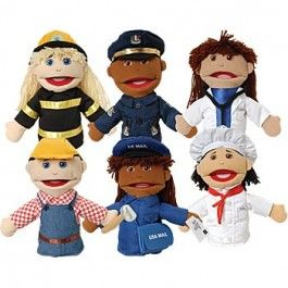 Multi-Ethnic Career Puppets/Set of 6 - The gang's all here! Role playing takes on a realistic dimension with this open-mouth hand puppet that depicts multi-ethnic men and women in non-sexist career roles. Each puppet has a soft stuffed head with embroidered facial features, yarn hair, and permanently attached clothing. Set includes Firefighter, Police Office, Doctor, Construction Worker, Mail Carrier, and Chef Puppets.   - $85.99