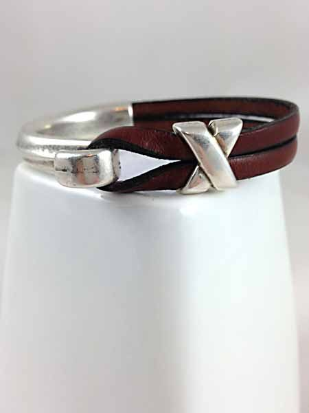 Metal and 5mm Flat Leather Bracelet X by UrbanCharmBoutique, $55.00