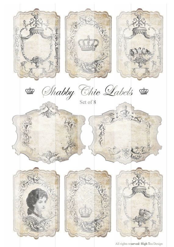 SHABBY CHIC LABELS  Gift Tags  Epherma  Hang Tags by HighTeaDesign, $4.00