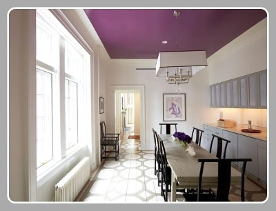 How cool is this purple ceiling!
