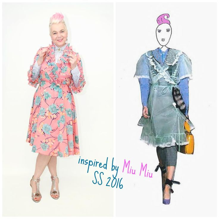 For this combination I was inspired by Miu Miu's catwalk show SS 2016. Combine a super feminine ruffled dress with a sturdy men's shirt. By the way I really really love Miuccia Prada's designs and look on fashion! The sixties dress is available on etsy.com/shop/pompadourandvintage   #popupstyling #styling #stylingadvice #fashion #vintagefashion #vintage #vintagewear #womenwear #fashionista 