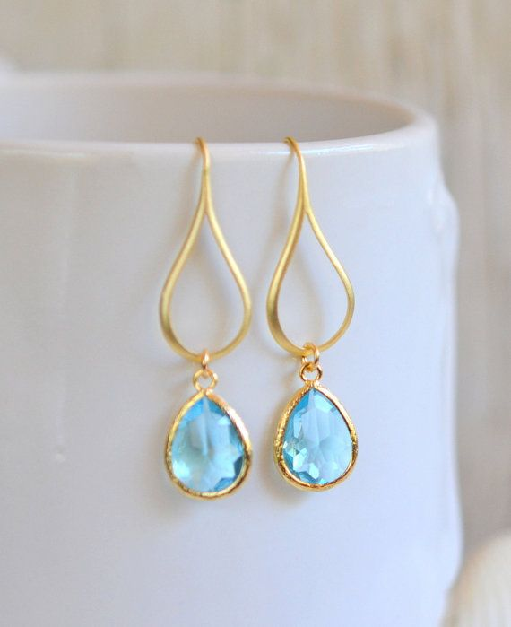 Gold Aquamarine Drop Earrings. Aquamarine Teardrop Drop Earrings. Gift for Her. Dangle Earrings. Modern Drop Earrings. Christmas Gift.