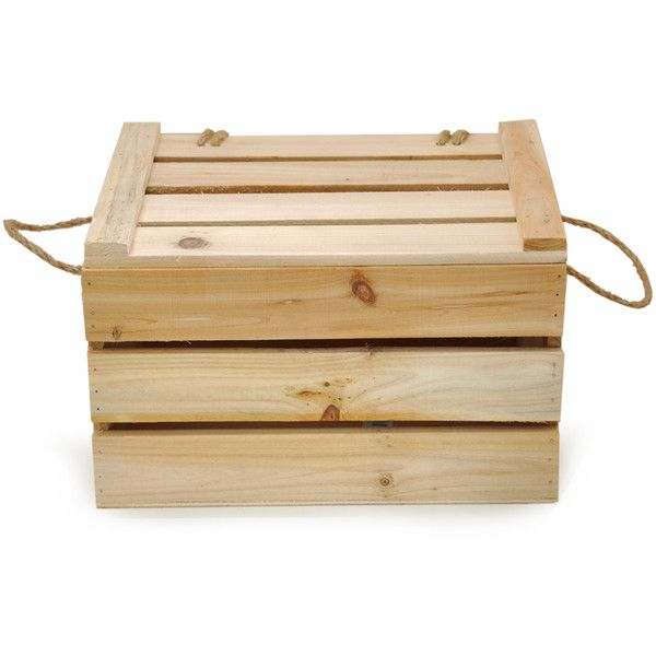 Natural Wooden Storage Box with Lid - Medium The Lucky Clover Trading... ❤ liked on Polyvore