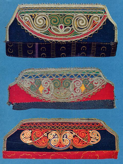 These separate decorative cuffs are called manikoulia and have a variety of different embroideries. This is another way of wearing a variety of ornamentation without making multiple garments. Costume of the Karagouni, Thessaly, Greece