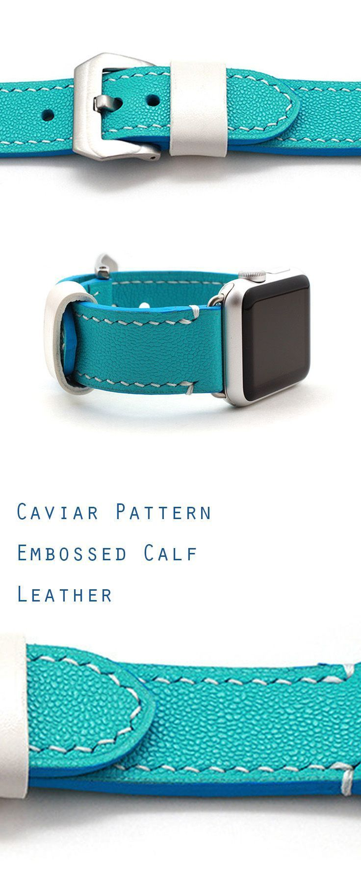 Apple Watch strap band in Caviar Pattern Embossed calf AQUA BLUE (turquoise) leather watch band, Apple Watch Strap, iWatch band, Leather Watch band, 42mm, 38mm, iWatch Strap