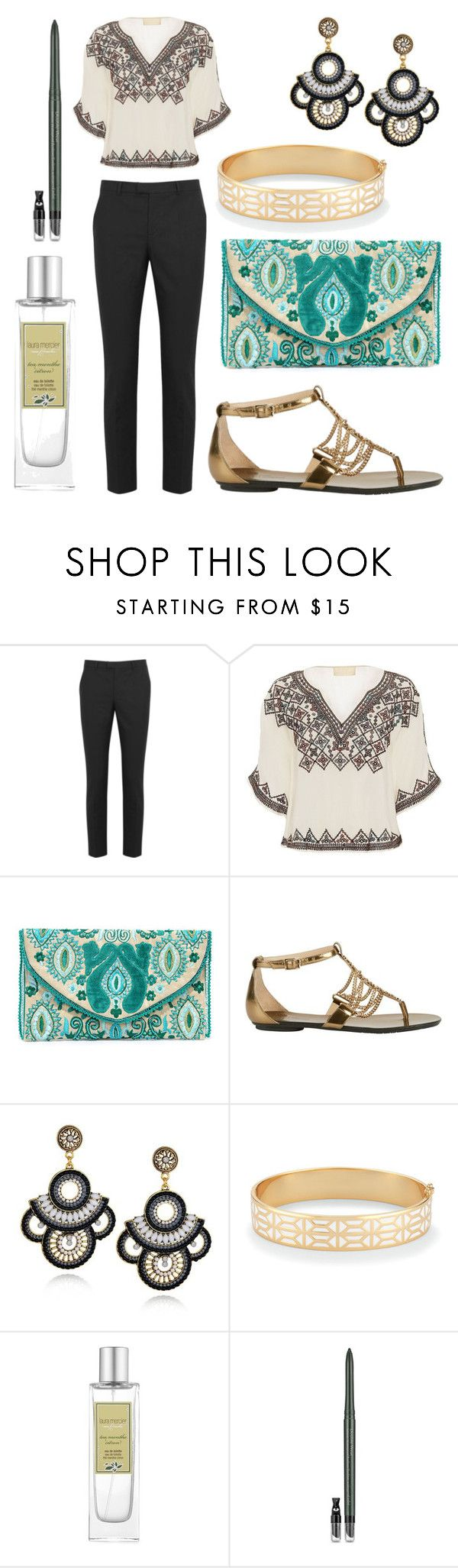 """""""Smart Casual Dinner Outfit: Black Trousers"""" by michellexueyi ❤ liked on Polyvore featuring RED Valentino, Love Sam, Lulu*s, Jimmy Choo, Stella & Dot, Laura Mercier and Estée Lauder"""