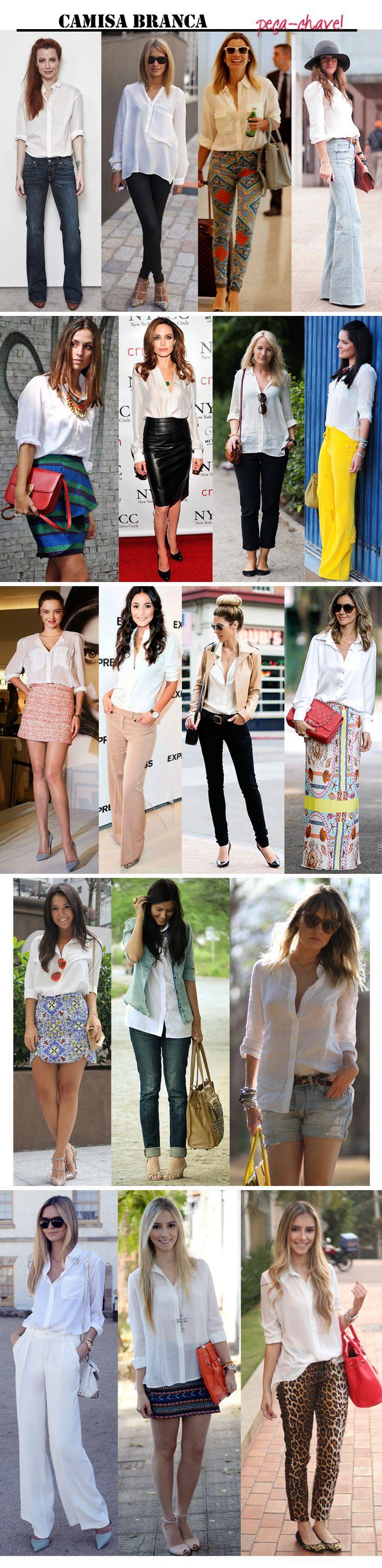 white shirt / chemise / camisa branca / stylish and basic  / otimização do guarda-roupa / looks / produções