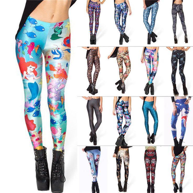 Women 3D Graphic Print Punk Casual Stretchy Skinny Pencil Leggings Pants #King