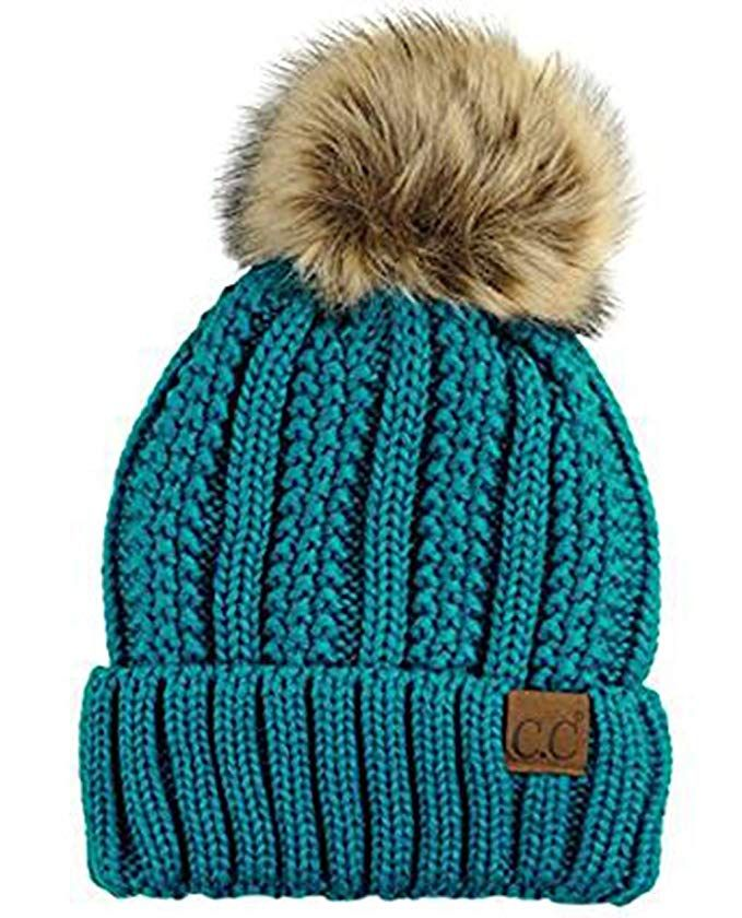 7f34b824b2f CC Quality Women s Faux Fur Pom Fuzzy Fleece Lined Slouchy Skull Thick Cable  Beanie hat Review