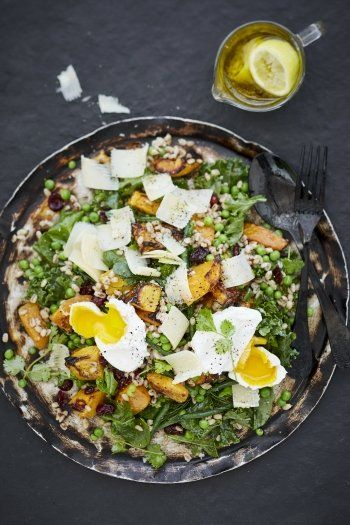 Butternut Squash and Barley Salad with Poached Egg
