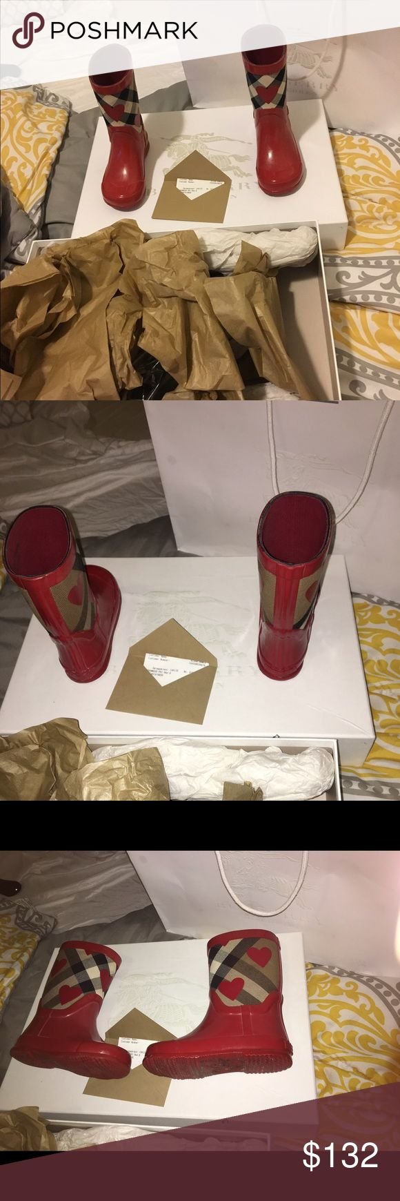 Burberry toddler rain boots Beautiful pair of Authentic Burberry toddler Rain Boots worn only twice was purchased 11/17/2016 Burberry Shoes Rain & Snow Boots