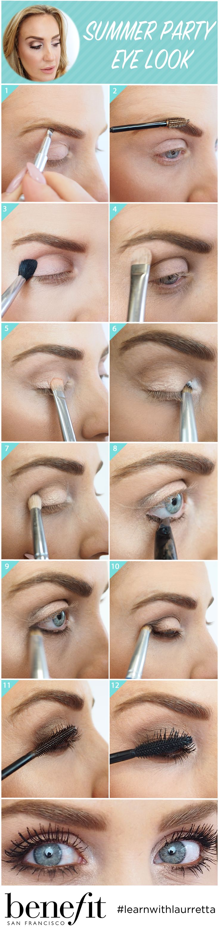 1/ Fill brows with kabrow & 3D brow tones 3/ Buff hoola into the socket 4/ Apply pinky swear under the brow bone 5/ Apply it's complicated shadow on the lid 6/ Dot milk it eye shadow onto the inner corner of eye 7/ Use a matte brown eye shadow on the outer corner of the eye  8/ Apply they're real push up liner brown under lash line 9/ Quickly buff & blend 10/ Blend any excess into the outer corner of the eye. 11/ Apply they're real tinted primer 12/ Finish with lashings of they're real…