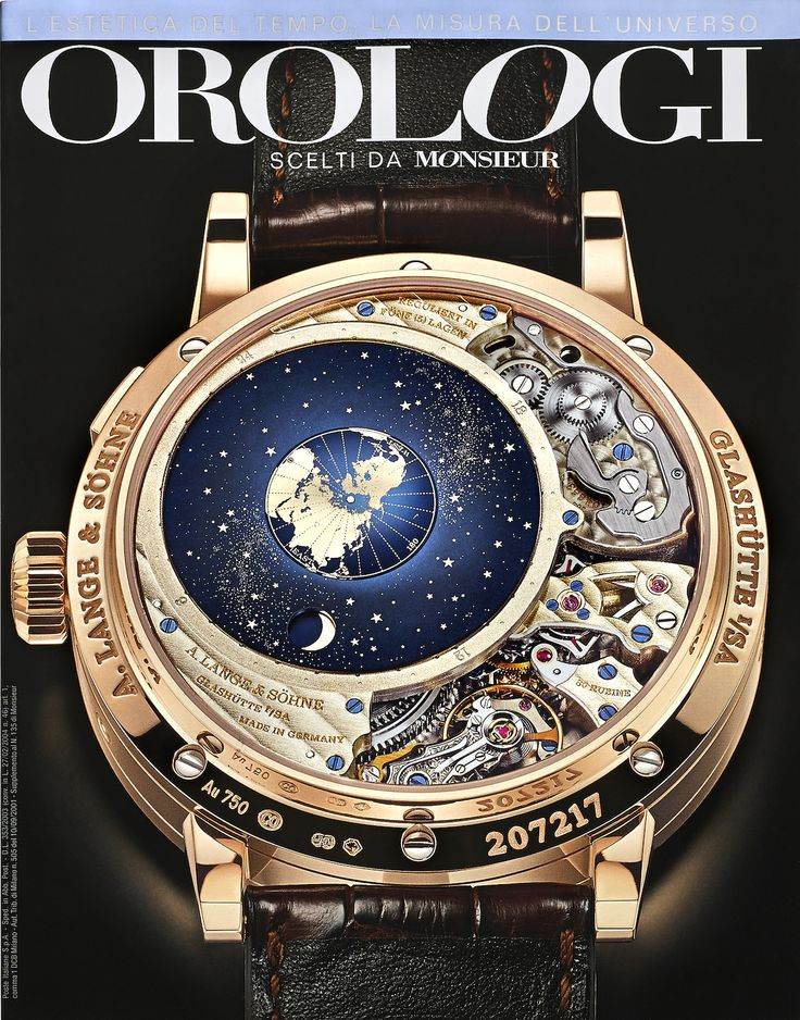 Orologi insert (Monsieur Italy magazine). Front cover dedicated to Lange & Sohne Terraluna Calendario Perpetuo. The image on the cover shows the back face of the watch.