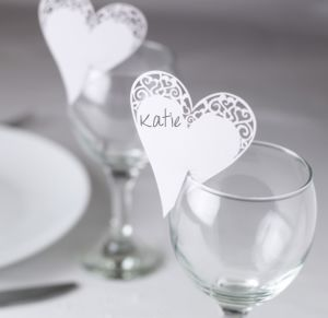 Laser Cut Place Card for Glass Contemporary Heart White