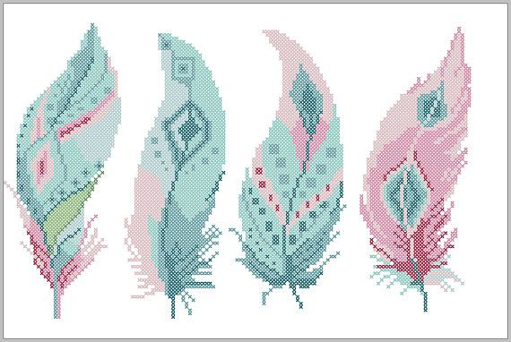 BOGO FREE! Feather cross stitch pattern Tribal Boho Modern Feather Watercolor Natural cross stitch pattern PDF instant download #319