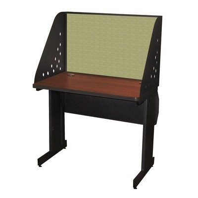 """Pronto Laminate Desk Carrel with Lockable Raceway Finish: Mahogany Laminate/Dark Neutral Finish, Size: 48"""" W x 30"""" D, Fabric Color: Slate by Marvel. $760.39. PRCL0027_DT8568 Finish: Mahogany Laminate/Dark Neutral Finish, Size: 48"""" W x 30"""" D, Fabric Color: Slate Features: -Melamine laminate top with 2-2"""" Grommets.-Lockable wire management raceway with steel hinged door.-Center septum in raceway separates data wiring from electrical wiring.-Vertical wire management acces..."""
